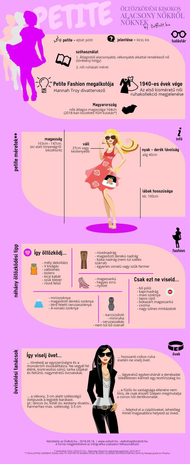 öltözködési tippek alacsony nőknek - infografika