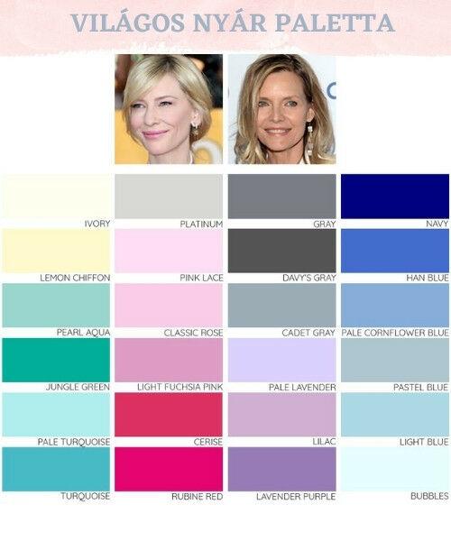 Világos Nyár típus színei