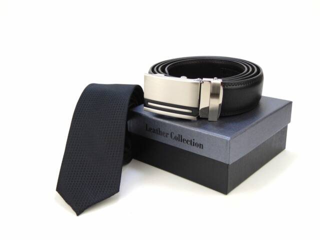 Hasznos Ajándék Férfiaknak - Fekete Slim Nyakkendő + racsnis öv | BLK01-18100