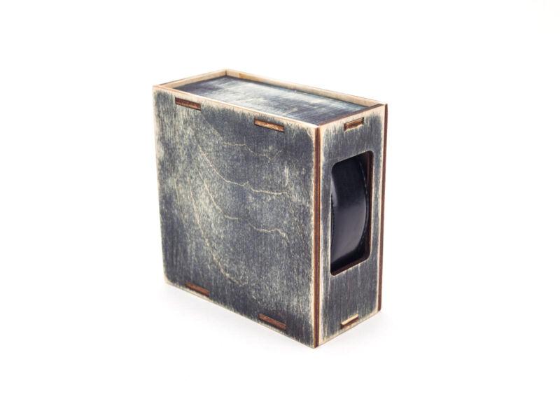 Fa díszdoboz övnek - rusztikus fekete | B101