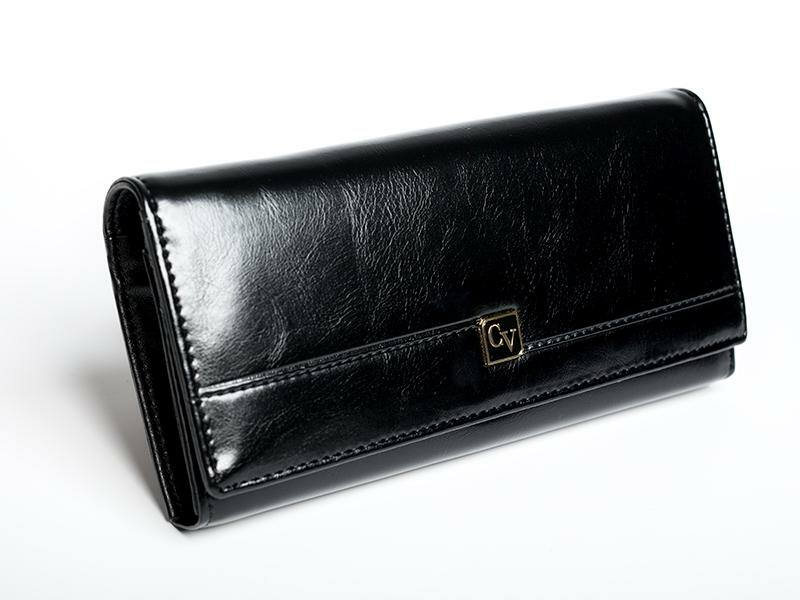 Cavaldi női bőr pénztárca - fekete | P24