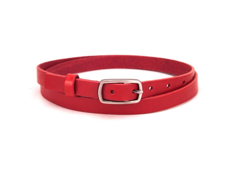 Valódi bőr öv vékony női - piros   CM-F2001