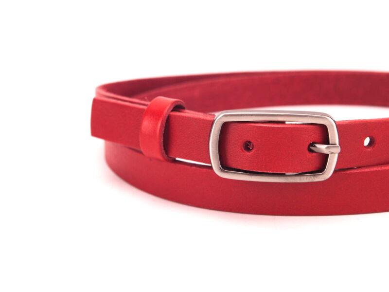 Valódi bőr öv vékony női - piros | CM-F2001