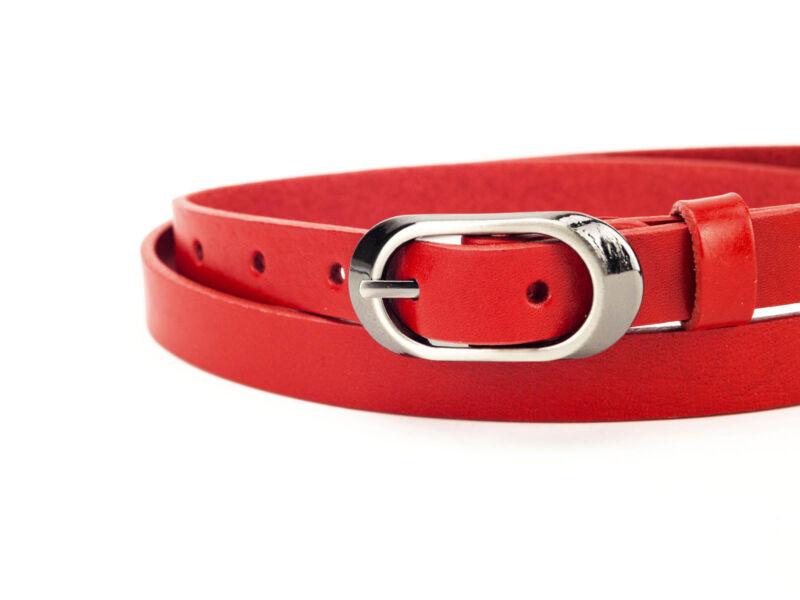 100% bőr keskeny deréköv - piros | F2002
