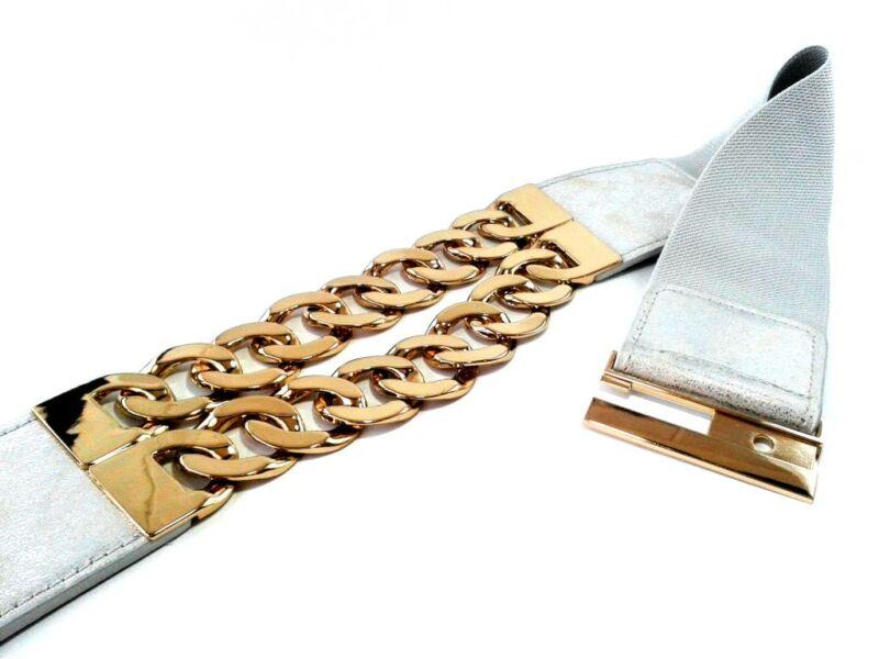 Vastag aranyláncos divat öv - ezüst | MML582