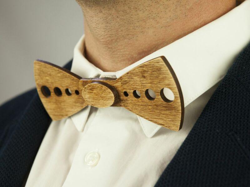 Ajándék ötlet férfiaknak - Fa csokornyakkendő & öltöny öv szettben | ZS001-R006