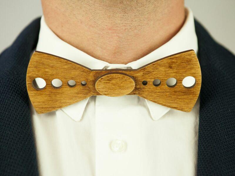 Ajándék ötlet férfiaknak - Fa csokornyakkendő & öltöny öv szettben | ZS001-R001