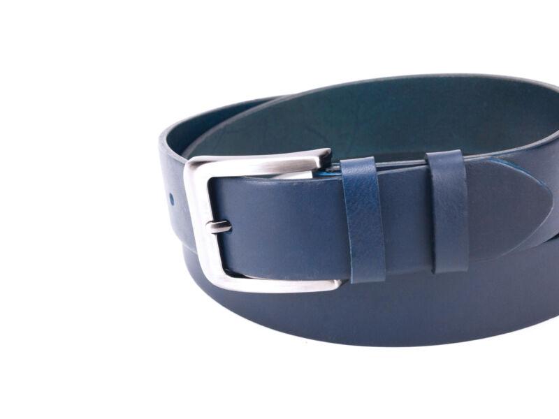 Férfi nadrágszíj marhabőrből - navy kék | B102