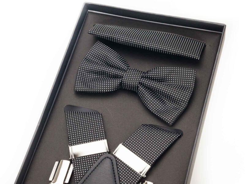 Hózentróger szett - fekete aprómintás   0062