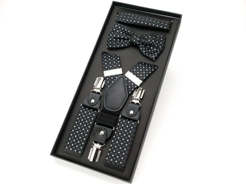 Férfi suspender csokornyakkendővel - fekete   292