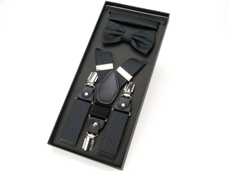 Férfi nadrágtartó aprómintás - fekete   297