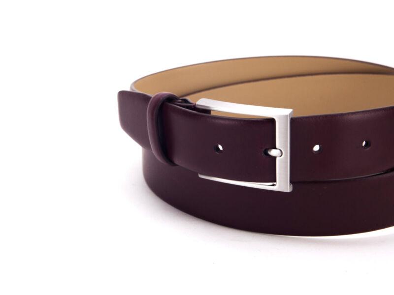 Smart casual valódi bőr öv - burgundi bordó   5941