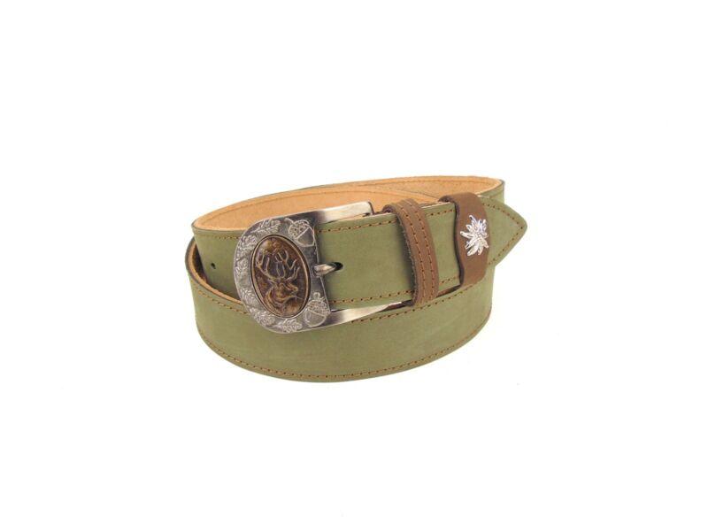 Nubuk bőr vadász öv dísztűzéssel - szarvas - khaki zöld   F02